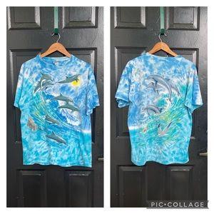 Vintage 90s Liquid Blue Dolphin AOP T-shirt